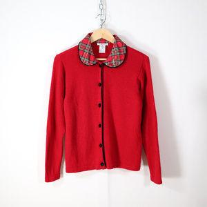 vintage angora wool plaid collar cardigan sweater